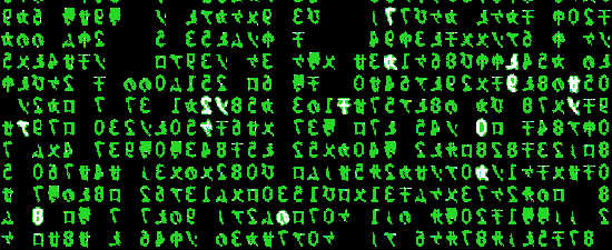 screenshot XMatrix screensaver displaying Matrix digital rain